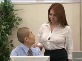 Milf Boss Yumi Kazama Corners Her Teenage Errand Boy at Office