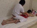 Japanese Wife Gets Fucked at the Massage While Her Hubby Watches On Monitor
