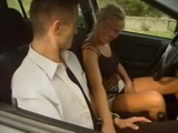 Horny Blonde Ride Driving Instructor In the Nature