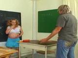 Evening School Teacher Having Big Trouble With Horny Pregnant Girl
