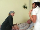 Granny Visit Her Grandpa In Nursing Home And Gives Him Blowjob All Together With Hot Young Nurse