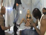 Blonde In Fishnet Stockings Surrounded And Gang Banged By Group Of Black Guys