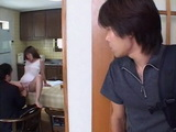 Son Busted His Slutty Mother Kasumi Matsui Cheating On His Dad With Stranger In The Kitchen