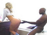 Blonde Girl Deepthroating And Hard Fucking With Big Black Cock In The Bathroom