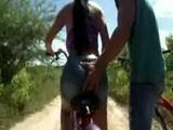 Sandra a big butt  bike riding