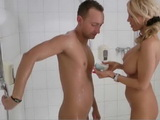MILF Blonde Mommy Still Likes To Bath Her Stepson As He Was A Little Boy