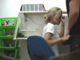 Hot Blonde Sucks A Colleague At Work