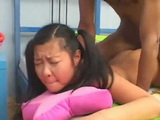 Asian Teen With Pigtails Deep Anal Fucked By Black Cock