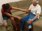 Old Grandpa Convinces His Young Daughter In Law To Fuck Him