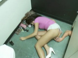 Wasted Drunk Passed Out Teen Found In Public Toilet Abused and Fucked