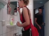 Horny Whore Blonde Sucks and Fucks Right in the Bathroom