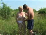 Granny Gets Fucked Outdoor By Young Guy