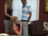 Nympho Stepmom Encouraging Teen To Suck Bfs Cock And Showing Her How To Do It Right  Avril Hall and Kristal Summers
