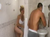 Latin mature shower stuffing