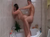 BBW get banged from behind in her tub by eager guy