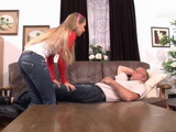 Blonde Teen Daughter Gets Fucked After She Awakes Her Sleeping Father