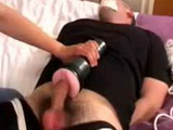 Wife gives fleshlight HJ with post orgasm fun