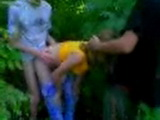 Russian Teenagers Threesome In The Park