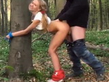 Blonde Teen Tied for a Tree and Raped In the Woods