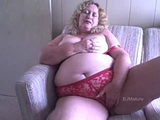 Amateur Granny In Red Lingerie Solo