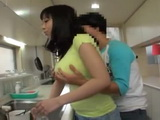 Immodest Boy Interrupted Busty Mother Tsukada Shiori While Washing Dishes And Fucked Her Hairy Pussy In The Kitchen