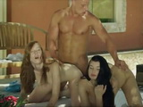 Hot girlfriends Li and Linda make passionate love at home with hunk dude