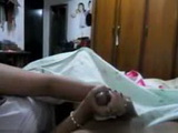 Sexy latin girlfriend gives handjob
