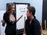Janitor Gets Lucky With Busty Company Manager Staying After Hours