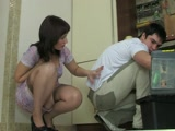 Horny Russian Married Housewife Corners and Fucks Repair Boy In Kitchen
